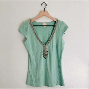 Anthro. Jeweled Top Mint Green